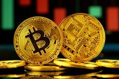 Fizyczna wersja Bitcoin, nowy wirtualny pieniądze Obraz Stock