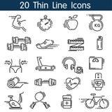 fizyczne fitness ikony siedem sylwetek sportowe Zdjęcia Stock