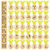 fizyczne fitness ikony siedem sylwetek sportowe ilustracja wektor