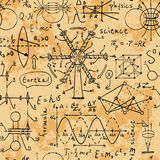 Fizyczne formuły, grafika i naukowi obliczenia, tylna szkoły Zdjęcia Royalty Free