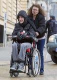 Fizyczni nadszarpnięć ludzie protestują (Niepełnosprawni) zdjęcie royalty free