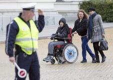 Fizyczni nadszarpnięć ludzie protestują (Niepełnosprawni) fotografia stock