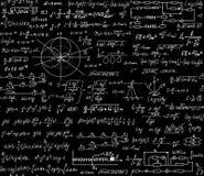 Fizyczny naukowy wektorowy bezszwowy wzór z formułami, badający równania i postacie Obraz Stock