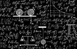 Fizyczny wektorowy bezszwowy wzór z równaniami, postaciami, planami, fabułami i innymi obliczeniami, Obrazy Stock