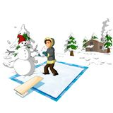 Fizyka - Marznąca basenu i chłopiec wersja 01 royalty ilustracja