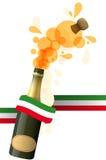 Fizz italian. Illustration of sparkling wine with italian color ribbon Stock Photo