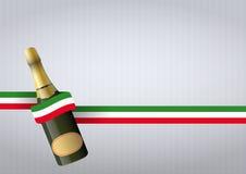 Fizz italian. Illustration of sparkling wine with italian color ribbon Royalty Free Stock Photo