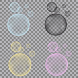 Fizzy Blue, Yellow, Pink, Black Bubbles On Transparent Backgro Stock Photo