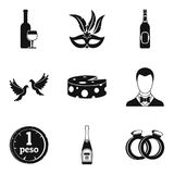 Fizzy drink icons set, simple style Royalty Free Stock Photo