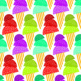 Fizzy Ice Cream Cones Seamless Background. Assorted ice cream cones and striped background.Seamless Tile Royalty Free Stock Photos