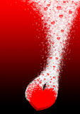 Fizzy love. Big red fizzy heart and many bubbles royalty free illustration