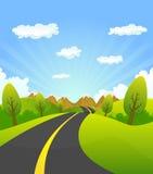Fjäder eller sommarväg till berg vektor illustrationer
