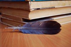 Fjäder och gamla böcker arkivfoto
