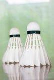 Fjäderboll för badmintonlek Arkivbild