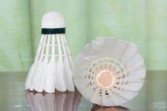 Fjäderboll för badmintonlek Royaltyfria Bilder