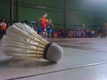 Fjäderboll i sidan av badmintonfältet Arkivbild