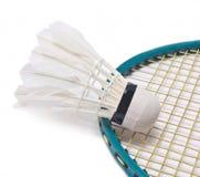 Fjäderboll med badmintonracket. Arkivbild