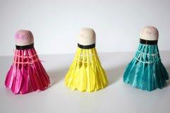 Fjäderbollar för badminton royaltyfri fotografi