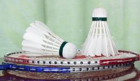 Fjäderbollar och badmintonracket Arkivbilder