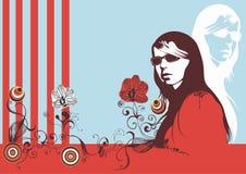 fjäderkvinna royaltyfri illustrationer