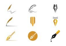 Fjäderpenna Logo Vector Royaltyfri Fotografi