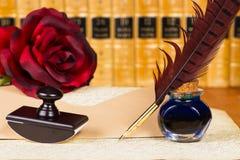 Fjäderpenna och färgpulver Royaltyfri Bild