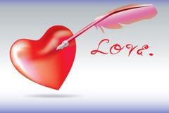 Fjäderpennadopp din hjärta Royaltyfria Bilder
