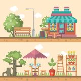 Fjädra arbeta i trädgården den plana illustrationen för vektorn i pastellfärgade färger med det gulliga kafét och arbeta i trädgå Arkivfoto