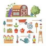Fjädra arbeta i trädgården den plana illustrationen för vektorn i pastellfärgade färger med gulliga arbeta i trädgården hjälpmede Arkivfoton