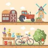 Fjädra arbeta i trädgården den plana illustrationen för vektorn i pastellfärgade färger med den gulliga ladugården, traktoren och Arkivfoto