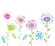 Fjädra bakgrund med blommor Royaltyfri Fotografi