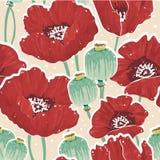 Fjädra blom- seamless mönstrar med vallmon Royaltyfri Foto