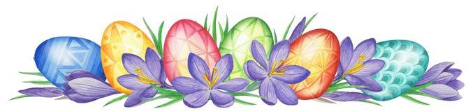 Fjädra blommabanret av krokusar och easter ägg mörk paper vattenfärgyellow för forntida bakgrund Royaltyfri Foto