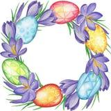 Fjädra blommabanret av krokusar och easter ägg mörk paper vattenfärgyellow för forntida bakgrund Royaltyfria Foton