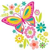 Fjädra blommor och fjärilen Arkivfoton