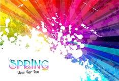 Fjädra den färgrika explosionen av färgbakgrund för dina partireklamblad