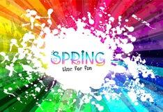 Fjädra den färgrika explosionen av färgbakgrund för dina partireklamblad stock illustrationer