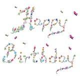 Fjädra den lyckliga födelsedagen undertecknar in färg med blom- beståndsdelar Arkivbilder