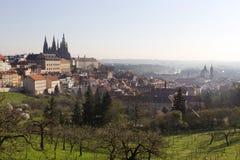 Fjädra den ottaPrague staden med den gotiska slotten i den gröna naturTjeckien Arkivbild