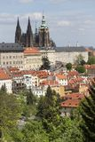 Fjädra den Prague staden med den gotiska slotten och de gröna natur- och blomningträden, Tjeckien Arkivfoto
