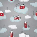 Fjädra den sömlösa modellen av isisflak med hus Grå bakgrund, dragen hand Royaltyfri Fotografi