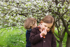Fjädra den tid… ron lämnar, naturlig bakgrund Gulliga små flickor (systrar 3 och 4 gamla år) nära Royaltyfri Bild