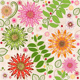 Fjädra färgrikt seamless blom- mönstrar Arkivbilder