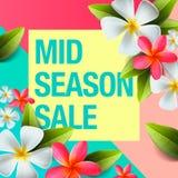 Fjädra försäljningsbakgrundsbanret med den härliga färgrika blomman, mitt--säsongen försäljningsaffischen, vektor Arkivbild
