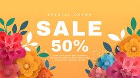 Fjädra försäljningsbanret med pappers- blommor på en gul bakgrund stock illustrationer