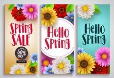 Fjädra fastställda designer för försäljnings- och hälsningvårvektoraffischen med färgrik bakgrund royaltyfri illustrationer