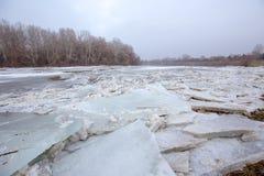 Fjädra floden, isisflak på floden Royaltyfri Foto