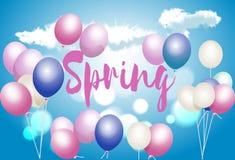 Fjädra hälsningkortet med ballonger, ett tecken på en bakgrund för blå himmel Royaltyfri Fotografi
