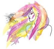 Fjädra illustrationen för flickaståendevektorn Royaltyfria Foton