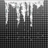 Fjädra istappar, stekflott för isvatten i solen genomskinlig bakgrund också vektor för coreldrawillustration Arkivbild